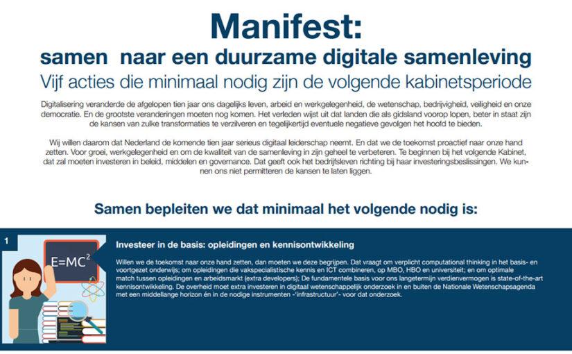 Manifest: samen naar een duurzame digitale samenleving